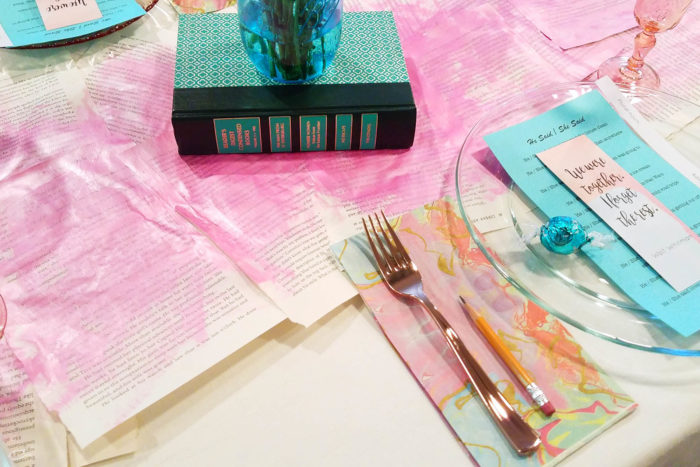 $10 at Target and a book page table runner tutorial
